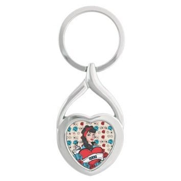 Pin-up Girl, Rock-A-Billy Silver-Colored Heart-Shaped Metal Keychain
