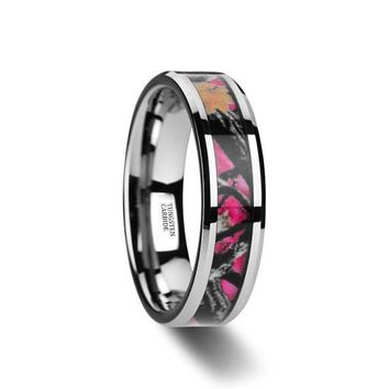 Pink Oak Leaves Camouflage Tungsten Wedding Ring Beveled Polished Finish - 6mm-8mm