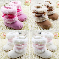 Newborn Baby Infant Girls Bowknot Snow Boots Warm Fleece Prewalker Boots 0-18M