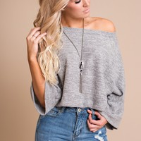 Odessa Cropped Sweater (Heather Grey)