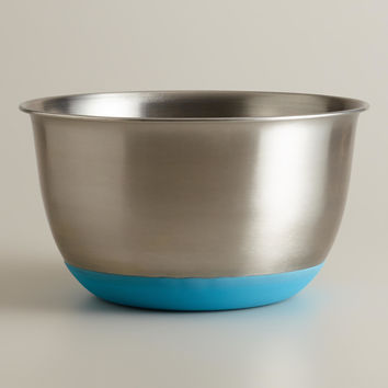 Aqua 5-Quart Stainless Steel Mixing Bowl - World Market