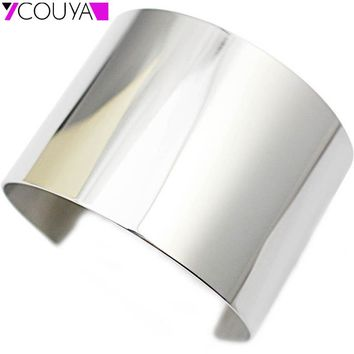 New Designer Stainless Steel Wide Blank Plain Shiny Arm Cuff Bangle Bracelet Jewelry  Ladies Fashion Jewelry
