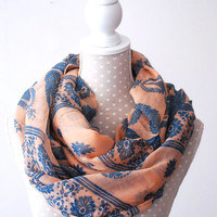 Salmon PINK Infinity Scarf Blue Elephant Loop Scarf Pink Fashion Scarf Great with your outfit