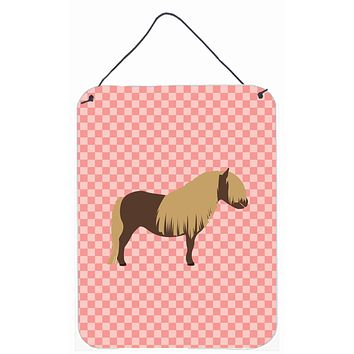 Shetland Pony Horse Pink Check Wall or Door Hanging Prints BB7914DS1216