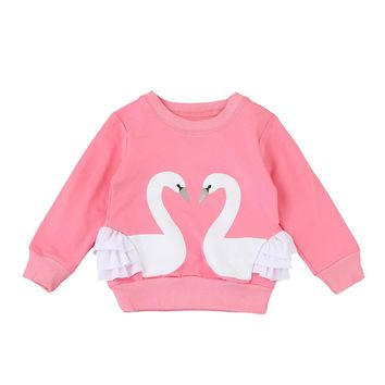 12M-4T Girls Swan Print Sweatshirt