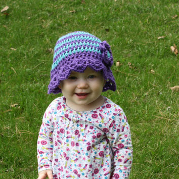 Purple and Aqua Blue Sun Hat with 3D Flower- summer baby, baby hat, Spring hat, photo prop, baby shower gift