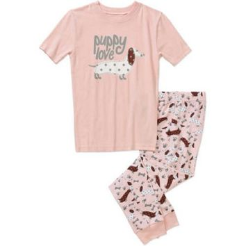Girls' Graphic Short Sleeve Shirt and Pant Sleepwear Set, Pink 6x