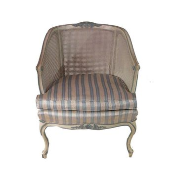 Pre-owned French Bergere Caned Accent Chair