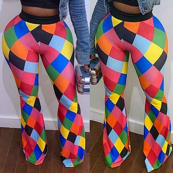 Women Sexy Colorful Printed Elastic Waist Bell Bottom Pants