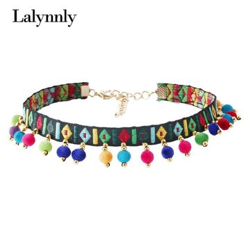 Lalynnly Boho Choker Necklace Necklace Colorful Handmade Ribbon Ball Collar Necklace Vintage Choker Jewelry for Women N56021