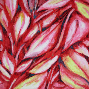 Red Leaves, Abstract Oil Pastel Drawing on 14x17 Bristol Board, Abstract Leaves, Red Drawing