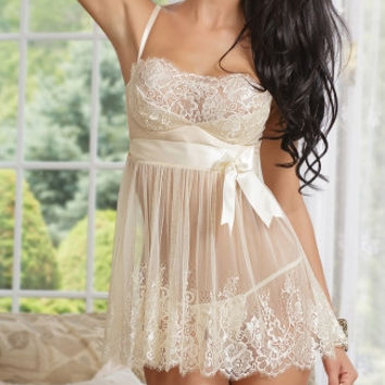 Ivory Elegance Babydoll and G-String