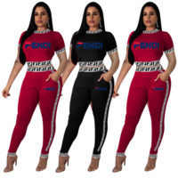 FENDI New Popular Women Casual Long Sleeve Round Collar Top Pants Set Two-Piece
