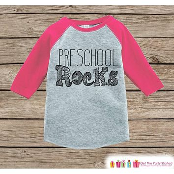 Girls Preschool Rocks Tee - Pink Back to School Outfit - Girls Pink Raglan Preschool Rocks Tshirt - Kids Preschool Shirt - Toddler Pink Top