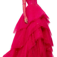 Long Sleeve Ball Gown With Tier Skirt