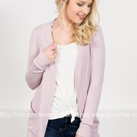 New York Ribbed Cardigan | Lilac