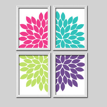 Pink Turquoise Lime Purple Flourish Design Artwork Set of 4 Prints Dahlia Bloom Flowers Bedroom Wall Decor Floral Art Pictures