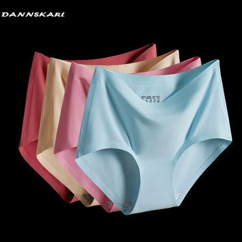 summer The new  Women's  Panties ice briefs silk Cool and  Intimates seamless underwear triangle big yards of female briefs