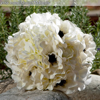 Anemone Wedding Bouquet Black and White Bridal Bouquet