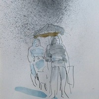 Saatchi Art: Umbrellas of Paris #1 Drawing by Frederic Belaubre