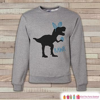 Adult Easter Shirt - Funny Easter Bunny Dinosaur Happy Easter Sweatshirt - Dino Blue Bunny Ears Easter Shirt - Easter Grey Men's Sweatshirt