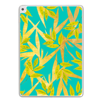 Gold and Teal Florals iPad Tablet Skin