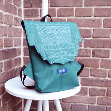 Backpack green hipster backpack rucksack cycling bag everyday small mini backpack Zurichtoren geometric simple minimalist backpack rucksack