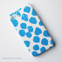 Recycled Fabric iPhone Case Handmade with Blue Spots