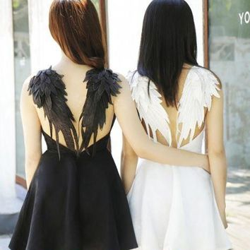 WINGS DRESS GOTHIC Swan BACKLESS Wedding Cosplay