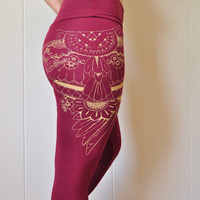 Organic bamboo high waisted leggings with unique henna style wing print in burgundy // ready to ship
