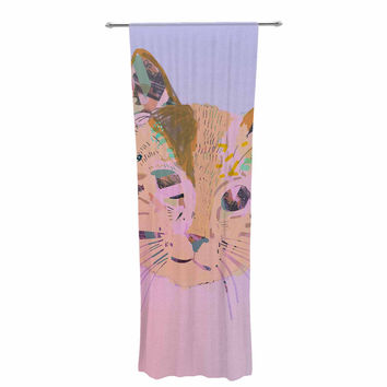 """Vasare Nar """"Psychedelic Cat"""" Pastel Lavender Decorative Sheer Curtain"""