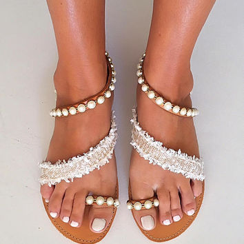 "Bridal Sandals ""Jasmine"", Leather Strappy Sandals, Beach Wedding Sandals, Greek Sandals"