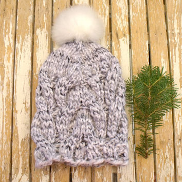 Women's Slouchy, Chunky, Cable Knit Hat in Marled White and Greys with White Faux Fur Pom Pom