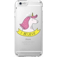 Hard Plastic Transparent Case for iPhone 6 / 6S - I Believe In Unicorn - Pink Girl