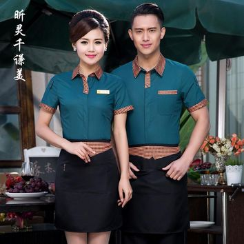 Hotel Uniform Summer Waitress Uniforms Restaurant Cafe Waiter Short Sleeved Shirt Tooling Work Clothes Overall J059