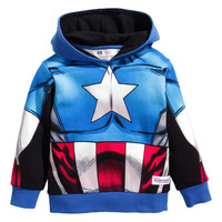 H&M - Printed Hooded Sweatshirt - Blue/Captain America - Kids
