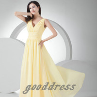 2013 Elegant Yellow V Neck Ruched A Line Chiffon Zipper back Floor Length Long Prom Dress Evening Gown Party Bridesmaid Dresses