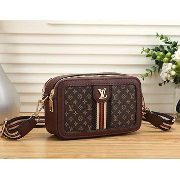 LV Newest Fashionable Women Leather Shoulder Bag Crossbody Satchel Coffee
