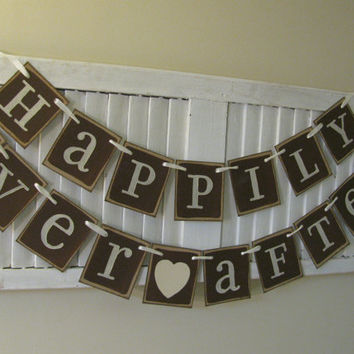 Wedding Banner Happily Ever After Garland Bunting in Chocolate and Line Can Custom to your Wedding Colors