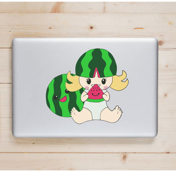 "Watermelon Girl Kawaii Die Cut Sticker // Cute Japanese // Computer & Tablet XL Size // 8"" // Perfect For Indoor, Outdoor, Laptop, Car"