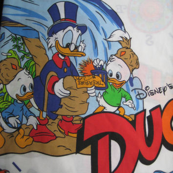 Vintage Disney DuckTales Donald Duck TWIN Size Flat Sheet Bedding Kid Boy Girl Bed Craft Fabric Clean Gently Used 1986