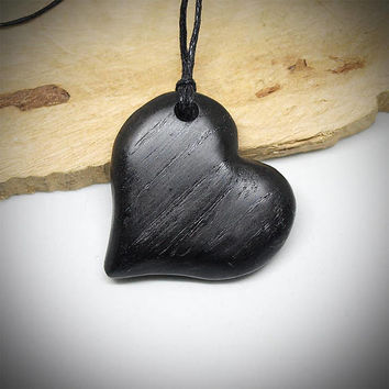 Heart necklace, Heart pendant, Wood heart, Wooden jewelry, Wood carving, Wood necklace, Black heart, Bog oak, Bog oak necklace, Black