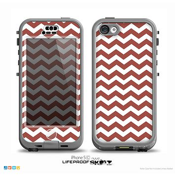 The Maroon & White Chevron Pattern Skin for the iPhone 5c nüüd LifeProof Case