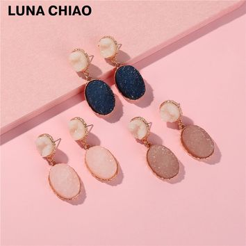 Fashion Zinc Alloy Gold Plating Circle Oval Shape Imitation Resin Druzy Stone Earring