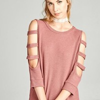 Waffle Knit Top with Ladder Cut Sleeves Brick
