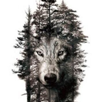 Waterproof Temporary Fake Tattoo Stickers Grey Forest Wolf Animals Large Design Body Art Make Up Tools