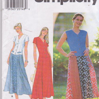 Pattern for fit and flare drop waist dress with button front bodice and 6 gored skirt misses size 12 14 16 Simplicity 7593 UNCUT
