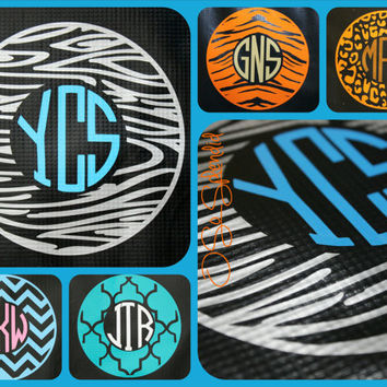 "12"" Custom Circle Monogram Car Decal - Wood Grain Pattern Outer Circle - Personalized Sticker"