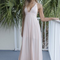 Sea Breeze Candy Peach Maxi Dress