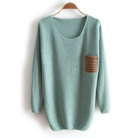 A 081907 u Thick collar loose long-sleeved sweater bottoming